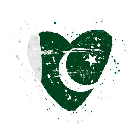 Pakistan flag in the form of a big heart. Vector illustration on a white background. Brush strokes are drawn by hand. Independence Day.