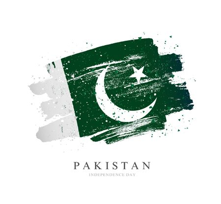 Flag of Pakistan. Vector illustration on a white background. Brush strokes are drawn by hand. Independence Day.