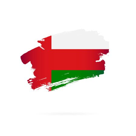 Flag of Oman. Vector illustration on a white background. Brush strokes are drawn by hand.