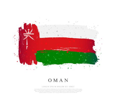 Flag of Oman. Vector illustration on a white background. Brush strokes are drawn by hand. Independence Day.  イラスト・ベクター素材