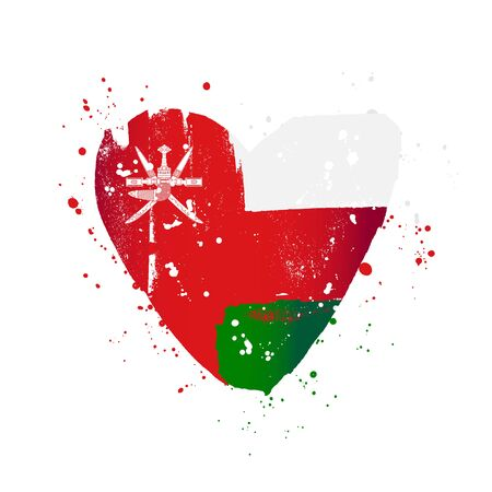 Flag of Oman in the form of a big heart. Vector illustration on a white background. Brush strokes are drawn by hand. Independence Day. Иллюстрация