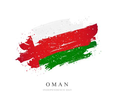 Flag of Oman. Vector illustration on a white background. Brush strokes are drawn by hand. Independence Day. Иллюстрация