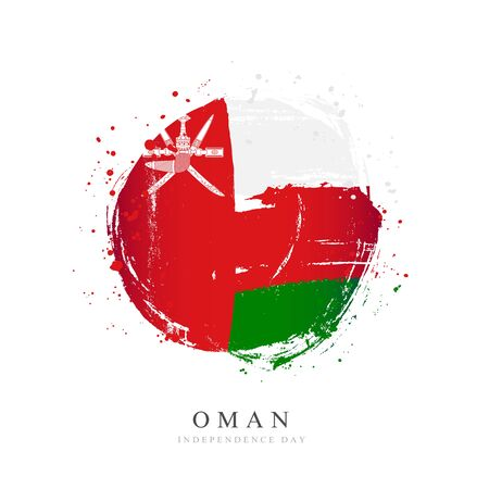 Omani flag in the shape of a big circle. Vector illustration on a white background. Brush strokes are drawn by hand. Independence Day. Иллюстрация