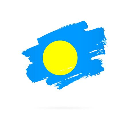 Flag of Palau. Vector illustration on a white background. Brush strokes are drawn by hand.