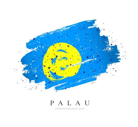 Flag of Palau. Vector illustration on a white background. Brush strokes are drawn by hand. Independence Day.
