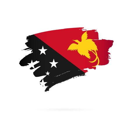 Flag of Papua New Guinea. Vector illustration on a white background. Brush strokes are drawn by hand.