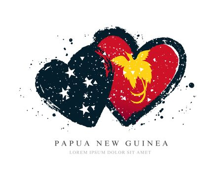 Flag of Papua New Guinea in the form of two hearts. Vector illustration on a white background. Brush strokes are drawn by hand. Independence Day. Иллюстрация