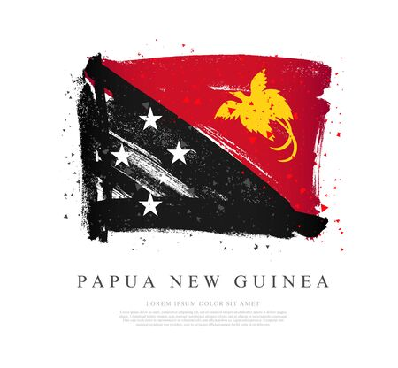 Flag of Papua New Guinea. Vector illustration on a white background. Brush strokes are drawn by hand. Independence Day. Иллюстрация