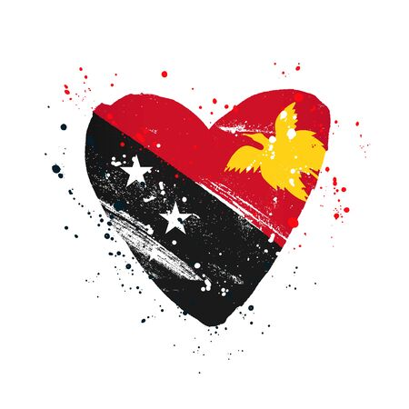 Flag of Papua New Guinea in the form of a big heart. Vector illustration on a white background. Brush strokes are drawn by hand. Independence Day.