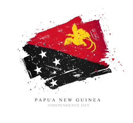 Flag of Papua New Guinea. Vector illustration on a white background. Brush strokes are drawn by hand. Independence Day. Illustration