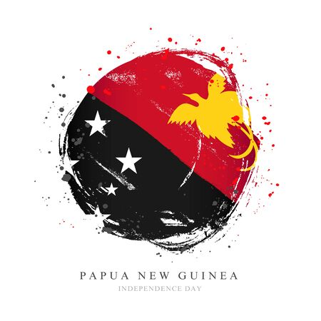 Papua New Guinea flag in the shape of a big circle. Vector illustration on a white background. Brush strokes are drawn by hand. Independence Day. Иллюстрация