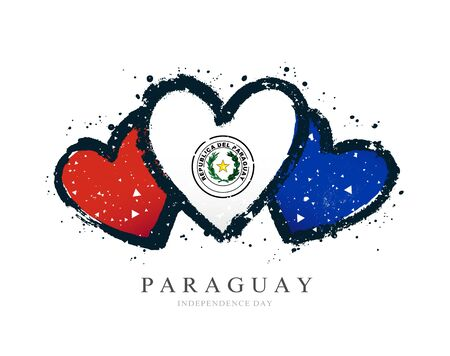 Paraguayan flag in the form of three hearts. Vector illustration on a white background. Brush strokes are drawn by hand. Paraguay Independence Day.
