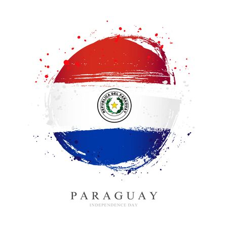 Paraguay flag in the shape of a big circle. Vector illustration on a white background. Brush strokes are drawn by hand. Independence Day. Иллюстрация