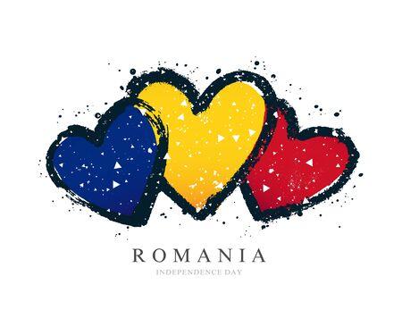Bandera rumana en forma de tres corazones. Ilustración de vector sobre fondo blanco. Los trazos de pincel se dibujan a mano. Día de la Independencia de Rumania.