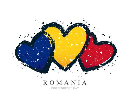 Romanian flag in the form of three hearts. Vector illustration on a white background. Brush strokes are drawn by hand. Romania Independence Day. Vectores