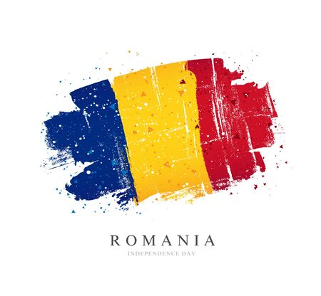 Flag of Romania. Vector illustration on a white background. Brush strokes are drawn by hand. Independence Day. Иллюстрация