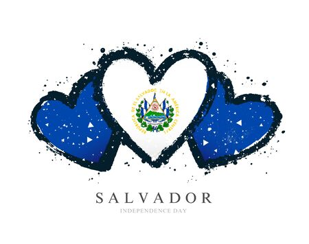 Salvadoran flag in the form of three hearts. Vector illustration on a white background. Brush strokes are drawn by hand. Salvador Independence Day.