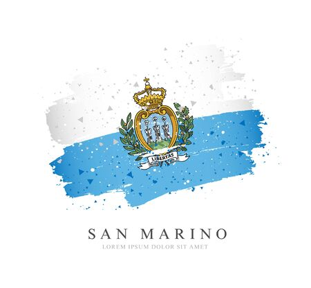Flag of San Marino. Vector illustration on a white background. Brush strokes are drawn by hand. Independence Day. Иллюстрация