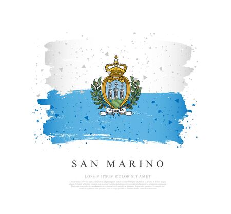 Flag of San Marino. Vector illustration on a white background. Brush strokes are drawn by hand. Independence Day