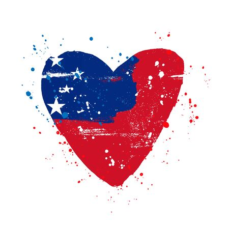 Samoa flag in the form of a big heart. Vector illustration on a white background. Brush strokes are drawn by hand. Independence Day.