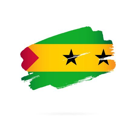 Flag of Sao Tome and Principe. Vector illustration on a white background. Brush strokes are drawn by hand.