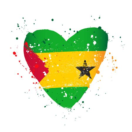 Flag of Sao Tome and Principe in the form of a big heart. Vector illustration on a white background. Brush strokes are drawn by hand. Independence Day. Ilustração