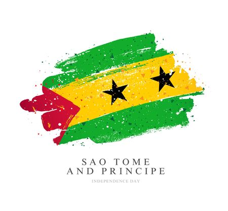 Flag of Sao Tome and Principe. Vector illustration on a white background. Brush strokes are drawn by hand. Independence Day.