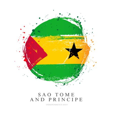 Flag of Sao Tome and Principe in the shape of a large circle. Vector illustration on a white background. Brush strokes are drawn by hand. Independence Day.