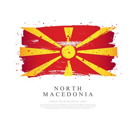 Flag of Northern Macedonia. Vector illustration on a white background. Brush strokes are drawn by hand. Independence Day.