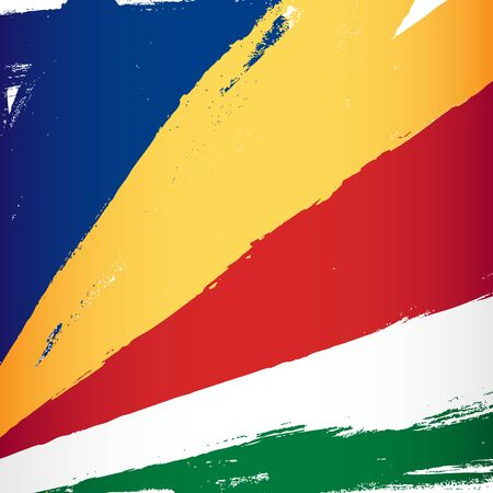 Flag of Seychelles. Vector illustration on a white background. Brush strokes are drawn by hand. Independence Day.