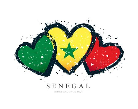 Senegalese flag in the form of three hearts. Vector illustration on a white background. Brush strokes are drawn by hand. Senegal Independence Day.