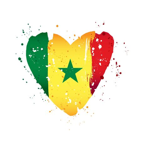 Senegalese flag in the form of a big heart. Vector illustration on a white background. Brush strokes are drawn by hand. Senegal Independence Day.