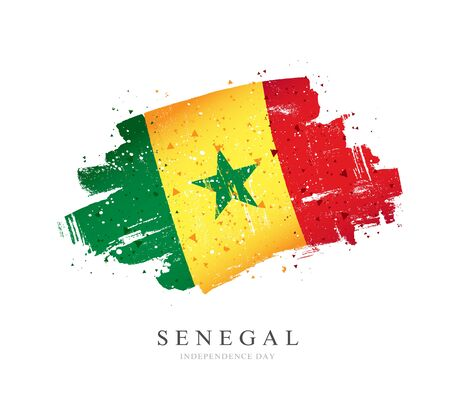 Flag of Senegal. Vector illustration on a white background. Brush strokes are drawn by hand. Independence Day.