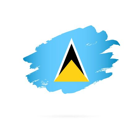 Flag of Saint Lucia. Vector illustration on a white background. Brush strokes are drawn by hand. Illustration