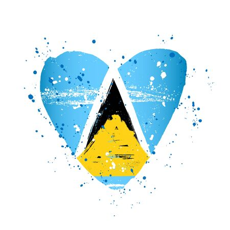 Flag of Saint Lucia in the form of a big heart. Vector illustration on a white background. Brush strokes are drawn by hand. Independence Day.