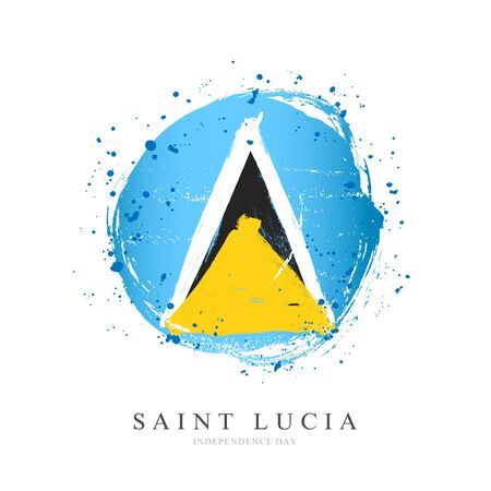 Flag of Saint Lucia in the shape of a large circle. Vector illustration on a white background. Brush strokes are drawn by hand. Independence Day. Illustration