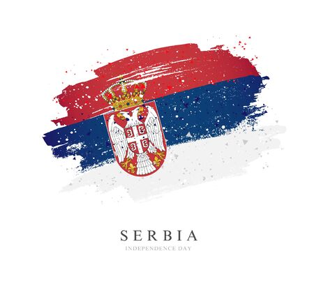 Serbia flag. Vector illustration on a white background. Brush strokes are drawn by hand. Independence Day.