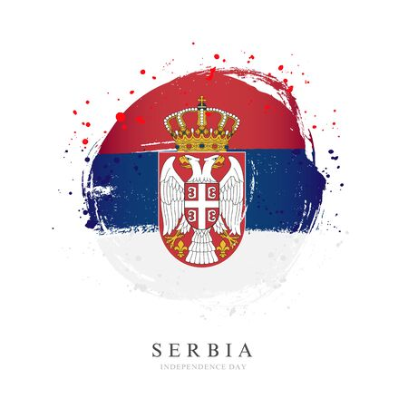 Serbia flag in the shape of a big circle. Vector illustration on a white background. Brush strokes are drawn by hand. Independence Day.