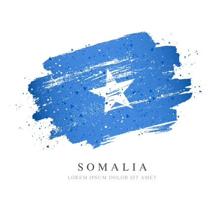 Flag of Somalia. Vector illustration on a white background. Brush strokes are drawn by hand. Independence Day.