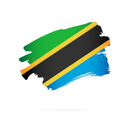 Flag of Tanzania. Vector illustration on a white background. Brush strokes are drawn by hand.
