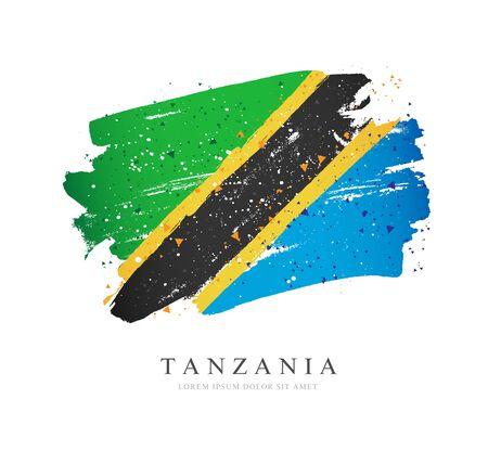 Flagge von Tansania. Vektorillustration auf weißem Hintergrund. Pinselstriche werden von Hand gezeichnet. Tag der Unabhängigkeit. Vektorgrafik