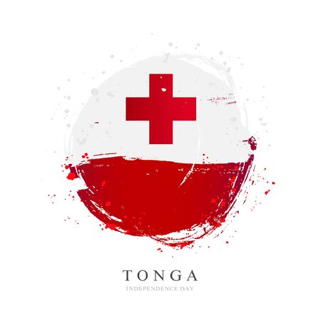 Tonga flag in the shape of a big circle. Vector illustration on a white background. Brush strokes are drawn by hand. Independence Day.