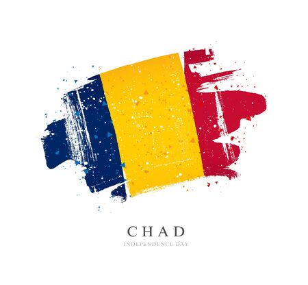Flag of Chad. Vector illustration on a white background. Brush strokes are drawn by hand. Independence Day. Stock Illustratie