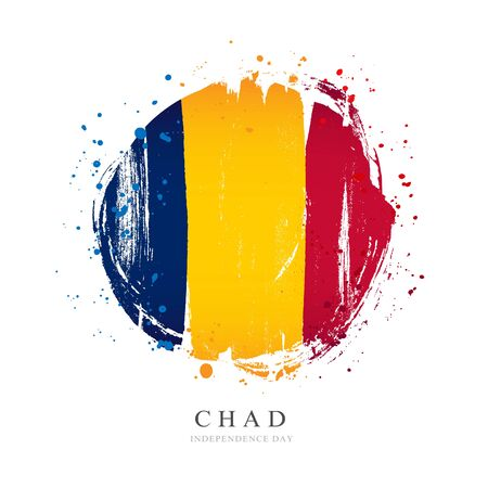 Chad flag in the shape of a big circle. Vector illustration on a white background. Brush strokes are drawn by hand. Independence Day.