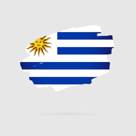 Flag of Uruguay. Vector illustration on a gray background. Brush strokes are drawn by hand. Stock Illustratie