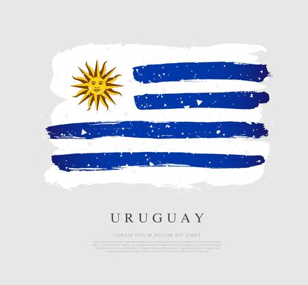 Uruguayan flag. Vector illustration on a gray background. Brush strokes are drawn by hand. Uruguay Independence Day. Illustration