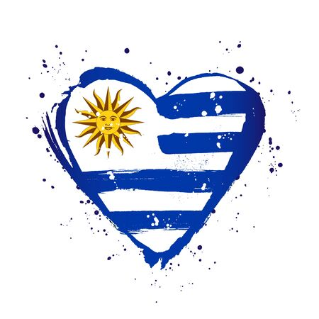 Uruguay flag in the form of a big heart. Vector illustration on a white background. Brush strokes are drawn by hand. Independence Day. Stock Illustratie