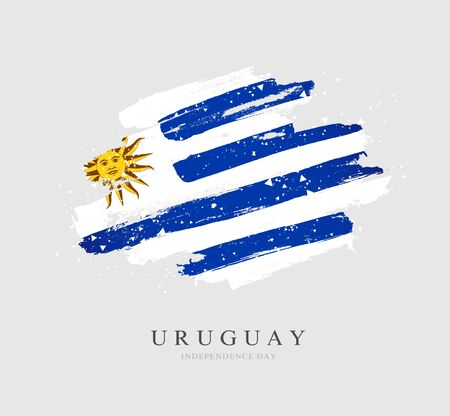 Uruguayan flag. Vector illustration on a gray background. Brush strokes are drawn by hand. Uruguay Independence Day. Stock Illustratie