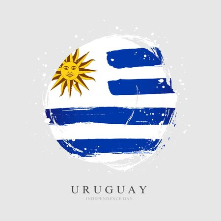 Uruguayan flag in the shape of a big circle. Vector illustration on a gray background. Brush strokes are drawn by hand. Uruguay Independence Day.