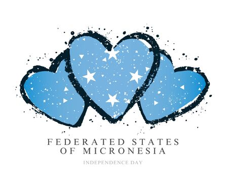 Flag Federated States of Micronesia in the form of three hearts. Vector illustration on a white background. Brush strokes are drawn by hand. Independence Day. Illustration